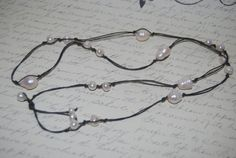 Big White Freshwater Pearl Knotted Long  Necklace