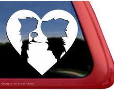 "Border Collie Love - DC857HRT - High Quality Adhesive Vinyl Window Decal Sticker - 5"" tall x 5.25"" wide"