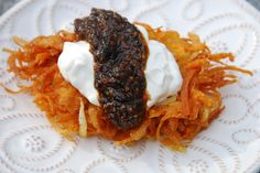 I married potatoes, sweet potatoes, and granny smith apples in a latke & they really do shine together.
