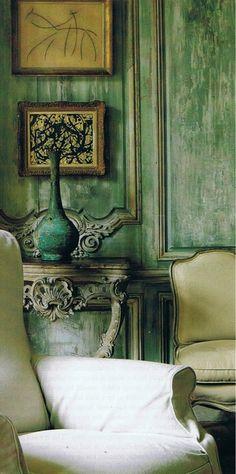 wall colors, interior, living rooms, patina, green walls, wall treatments, paint finishes, shades of green, traditional homes