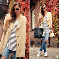 Beżowy płaszcz Sheinside.com