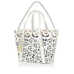 River Island White leather laser cut tote bag - shopper / tote bags - bags / purses - women