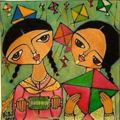 Image result for bengali folk art Madhubani Art, Madhubani Painting, Ganesha Painting, Art And Illustration, Indian Art Paintings, Abstract Paintings, Oil Paintings, Indian Folk Art, Indian Artist