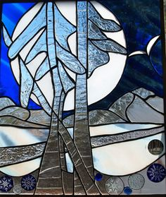 Abstract Winter Stained Glass Panel
