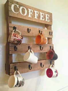 Coffee rack from pallet.