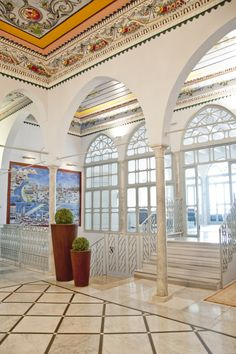 This hotel overlooking the Mediterranean Sea makes me suddenly want to go to Israel.  The Efendi Hotel in Acre, Israel.