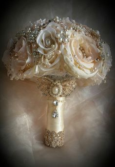 Ivory and Gold Bouquet - DEPOSIT for an Ivory,blush pink and Gold Brides Brooch Bouquet, Ivory and Gold Jeweled Bouquet, full price 485 Gatsby Wedding, Trendy Wedding, Gold Wedding, Perfect Wedding, Wedding Flowers, Dream Wedding, Wedding Day, Silver Weddings, Wedding Colors