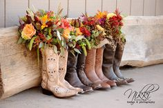 Fall wedding flowers, fall wedding bouquet, country wedding ideas Beautiful rustic fall wedding. country chic wedding, country wedding, fall wedding, cowgirl boots, flowers in boots. Sacramento wedding, el dorado county wedding, placerville wedding  Planning by OBSESSED events. www.obsessedevents.com Photo by @Nikki Hancock