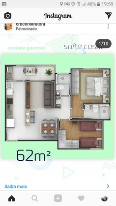 Casa de interés social The price reach of the Apartment was amazing. House Layout Plans, Small House Plans, House Floor Plans, Layouts Casa, House Layouts, Apartment Layout, Apartment Design, Bungalow Haus Design, 2 Bedroom House Plans