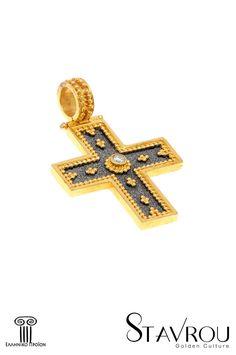 Γυναικείος σταυρός, βυζαντινής τεχνοτροπίας, χειροποίητης κατασκευής,σε χρυσό Κ18, με brilliant βάρους 0,12 ct  #σταυροί_βάπτισης #βαπτιστικοί_σταυροί #χειροποίητα_κοσμήματα #γυναικείοι_σταυροί  #σταυροί #βυζαντινά_κοσμήματα