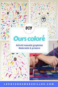 A visual art activity to make a pretty colorful bear. It is a graphic design that suits and appeals to both kindergarten and elementary school children. Here is a beautiful idea of painting to decorate the children's room art Source by paysmerveilles Diy For Kids, Crafts For Kids, Kindergarten, Practical Gifts, New Years Eve Party, Teaching Art, Kids Education, Diy Crafts To Sell, How To Memorize Things