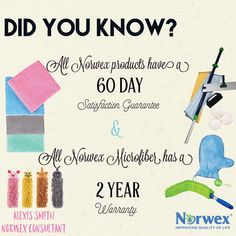 Yes it's true!!! I absolutely love how Norwex had a 60 day satisfaction guarantee on ALL products + 2 YEARS for Microfiber !  How wonderful is that?!  #gogreenwithme #warranty #norwex  #bestpurchaseever #cleanwithwater #nochemicals