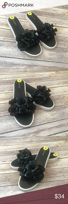 Nine West black patent leather rainen sandals Sz 9 Brand new without box.  Women's Nine West Rainer patent leather floral slide sandals size 9M. Never worn. Perfect for the warmer weather. See photos for details. Nine West Shoes Sandals