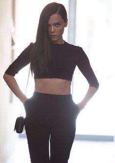 Alaia top Saint Laurent pants Saint Laurent bag