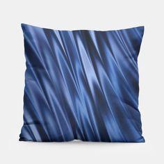 Dark indigo blue shaded stripes pillow