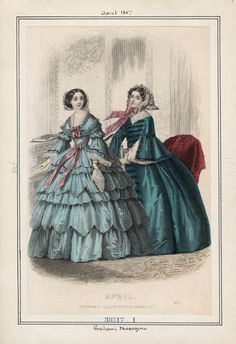 Graham's Magazine, Wednesday, April 1, 1857 | Casey Fashion Plates Detail | Los Angeles Public Library
