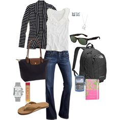 I think this is an outfit for a college kid- hence the backpack and planner... I love the cardi and tank, and bag, but would have to wear black flipflops instead.