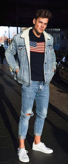 5 Simple & Stylish Denim Jackets Ideas For Men This Year Denim Jacket Fashion, Denim Jacket Men, Denim Outfit, Denim Jackets, Warm Outfits, Cool Outfits, Mens Fashion Blog, Man Fashion, Street Outfit