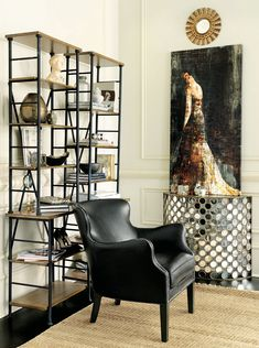 Black leather chair with pretty mirrored demilune