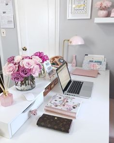 office office space office ideas home home decor home office home office d Home Office Design, Home Office Decor, Decorating Office, Office Ideas, Decorating Ideas, Feminine Office Decor, Decor Ideas, Office Designs, Pink Office Decor