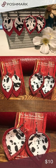 """Faux Leather Earrings Red Black White Cow Fur 2"""" Super soft faux leather Red (double sided with matching backs) topped with a black and white faux fur Cow print. Your choice of Pinched Leaf or Petal. Both 2"""" (measurements are of material only).  Check out my Facebook o: The Red Tattered Brush handmade Jewelry Earrings Diy Leather Earrings, Custom Earrings, Diy Earrings, Leather Jewelry, Jewelry Ideas, Diy Jewelry, Jewlery, Handmade Jewelry, Jewelry Making"""
