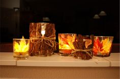 DIY Autum/herfst tea light holders