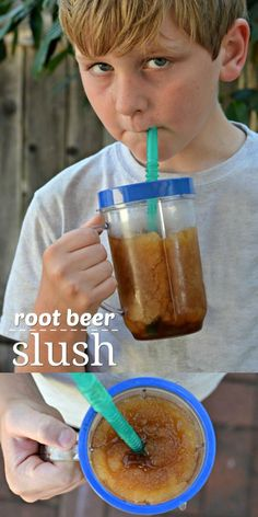 A simple and easy Root Beer Slush recipe - only 2 ingredients to make this delicious, frosty treat!