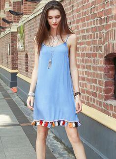 Cheap Sexy Scoop Tassel Trim Short Mini Dress for Sale - Chicuu.com