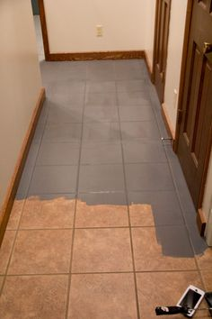 how to paint a tile floor  and what you should think about before     Faux Cement Tile Painted Floors