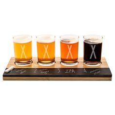 Cathy's Concepts Personalized Bamboo & Slate Craft Beer Tasting Flight, Brown Clear