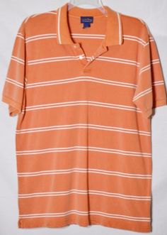CLUB-ROOM-BY-CHARTER-CLUB-Mens-Orange-White-Striped-Polo-Shirt-Large-Short-Slvs