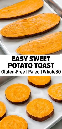 Sweet potato toast is the perfect gluten-free bread to switch up your healthy breakfast routine. Top it off with avocados and other fresh ingredients! #sweetpotato #sweetpotatorecipe #sweetpotatotoast #bakedsweetpotato #glutenfree