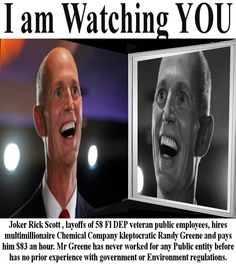 Rick Scott puts Cronie Buddy in Charge of watching his Oil Company thats Fracking in Florida (No Special Interest Here)