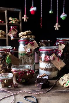 Edible Christmas Gifts In Jars including fudge brownies with Reeses and Espresso glazed nuts via halfbakedharvest