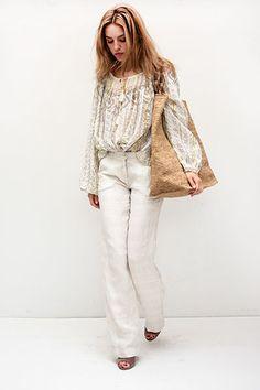 Lexi in a Mes Desmoiselles top and Massimo Alba pants with Sans Arcidet bag  | Shopheist.com