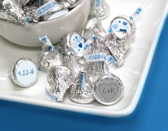 Royal Blue Wedding Ideas: Customized stickers for KISSES candies are an affordable DIY wedding favor for your outdoor / rustic wedding theme