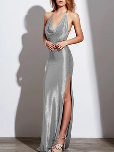 Halter High Slit Plain Evening Dress – modewish With a clever combination of halter, deep v-neck and sleeveless, this high slit will add a dash of femininity. long evening dresses,beautiful evening gowns,evening wear dresses Source by modewish dresses Satin Dresses, Sexy Dresses, Cute Dresses, Dress Outfits, Plain Prom Dresses, Silver Satin Dress, Floral Dresses, Casual Dresses, Dress Shoes