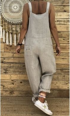 Spaghetti strap baggy jumpsuit pants women's cotton linen romper trousers loose harem pants women with pockets turnip - Women's Fashion Baggy Jumpsuit, Cotton Jumpsuit, Mode Hippie, Hijab Casual, Outfit Trends, Mode Inspiration, Mode Style, Overalls, Dungarees