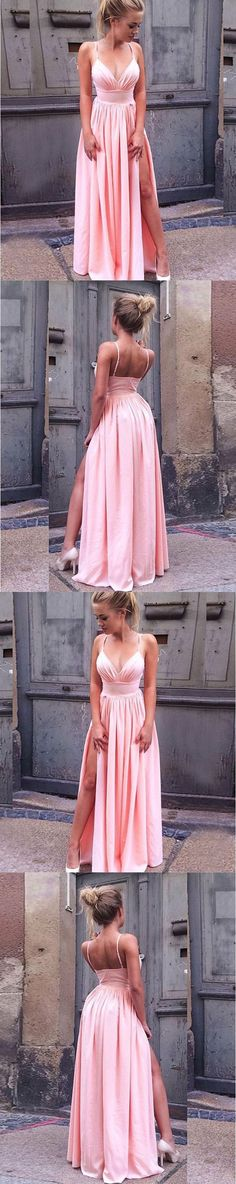 A-Line Split Side Pink Chiffon Prom Dress, Formal Dress with Split G244#prom #promdress #promdresses #longpromdress #promgowns #promgown #2018style #newfashion #newstyles #2019newprom #eveninggown #aline #spaghettistrap #splitside #pinkpromdress #chiffon #sleeveless