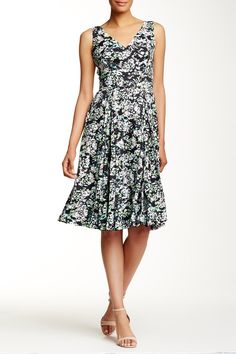 Printed Double Pleat Midi Dress