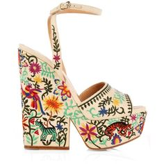 Sergio Rossi Cacoon embroidered wedge sandals ($760) ❤ liked on Polyvore featuring shoes, sandals, heels, white heel shoes, beige sandals, heeled sandals, white shoes and high platform sandals