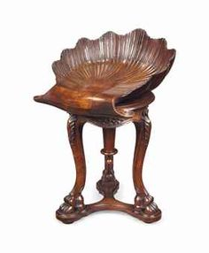 Merveilleux AN ITALIAN WALNUT GROTTO STOOL LATE 19TH CENTURY   With A Revolving Shell  Carved Seat 24.3