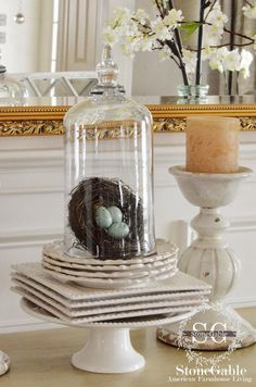 10 WAYS TO DECORATE FOR SPRING WITH NESTS- lots of inspiration and easy ways to use nests-stonegableblog.com