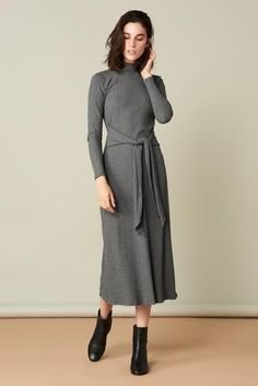 The Joan Dress in Grey. Whimsy + Row FW'17 Eco-Friendly Clothing Collection. This ribbed knit dress will hug your body and it's comfortable as ever. Sustainably made in LA. #RibbedKnitDress #FallDress #FallFashion #FallTrends #Greydress #EthicallyMade #EthicalBrand #MadeInUSA #SustainableFabric