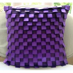 Purple Harmony - Throw Pillow Covers - 16x16 Inches Suede Pillow Cover with Pintucks and Satin Ribbon