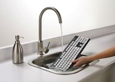 Not sure I need to go this far ...interesting idea, a washable keyboard?