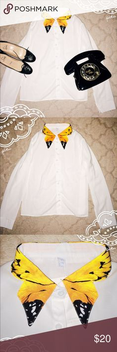 Korean Fashion Butterfly Collared Blouse Shirt NWT New with Tags. Bought this on a trip in Asia. Never worn. Brand is Cream. Well made, slightly sheer. On trend butterfly collar . Size small. Cream Tops Blouses