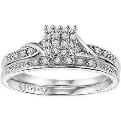 Keepsake Glamour 1/8 Carat T.W. Certified Diamond 10kt White Gold Bridal Set #diamonds