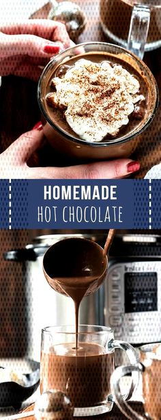 Homemade Hot Chocolate Recipe : Homemade hot chocolate is the perfect sweet treat and drink to celebrate the holidays! This recipe cooks in the Instant Pot or Slow Cooker to make things easy for holiday entertaining. Crock Pot Hot Chocolate Recipe, Best Hot Chocolate Recipes, Cocoa Recipes, Homemade Hot Chocolate, Hot Chocolate Bars, Coffee Recipes, Homemade Hot Cocoa Recipe, Drink Recipes, Dessert Recipes