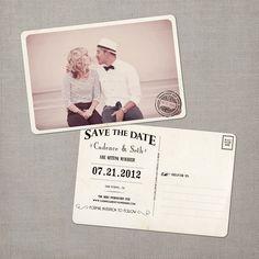 Cadence - Vintage Save the Date Postcard. $39.00, via Etsy.